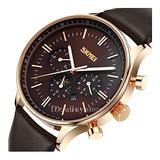 Sub-dials Men Watches Quartz Date Calendar Multifunction Leather Band Wristwatch Brown Dial Gold Case