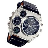 Men's Watch Steampunk Dual Time Zone Four Dial Big Face Watches Analog Quartz Black Leather Strap Compass Thermometer Decorative Dial Cool Wrist Watch for Halloween Costume Party