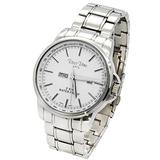 Ross Rino Mens Silver Tone Stainless Steel Metal Band Silver Face Watch with Day and Date and Date