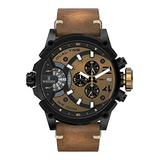 Timecode Marconi 1896 TC-1002-07 Black Stainless Steel 50mm Men's Watch Black Brown dial with White Accents on a Caramel Vintage Brown Genuine Leather Strap with Date, Dual time and Chronograph