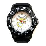"""'U.S. Marines""""Medium Size Black Plastic Sport Watch with Elapsed Time Bezel by Military Time"""