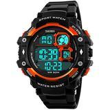Fanmis Military Sports Analog Digital Multifunction Alarm Dual Time Waterproof Men's LED Watch Black (Orange)