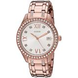 GUESS Women's U0848L3 Sporty Rose Gold-Tone Watch with Silver Dial , Crystal-Accented Bezel and Stainless Steel Pilot Buckle