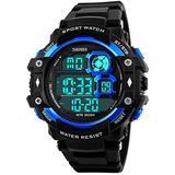 Fanmis Military Sports Analog Digital Multifunction Alarm Dual Time Waterproof Men's LED Watch Black (Blue)