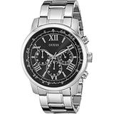 GUESS STEEL W0379G1,Men's Silver-Tone Chronograph,Stainless Steel,Black Dial,50m WR