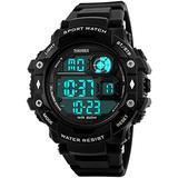 Fanmis Military Sports Analog Digital Multifunction Alarm Dual Time Waterproof Men's LED Watch Black (Black)