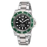 Legend 1001-11-Grnb Deep Blue Stainless Steel Black Dial Stainless Steel Green Ip Ss Bezel Watch
