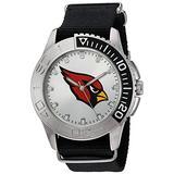 Game Time Men's 'Starter' Metal and Nylon Quartz Analog Watch, Color:Black (Model: NFL-STA-ARI)