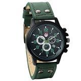 JewelryWe Birthday Gift Unique Date Leather Sports Watch Quartz Mens Easy Reader Wristwatch - Green