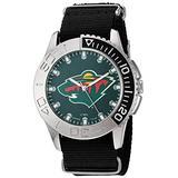 Game Time Men's 'Starter' Metal and Nylon Quartz Analog Watch, Color:Black (Model: NHL-STA-MIN)