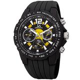 Joshua & Sons Multi-Function Double Layer Accented Dial with Matte Black Case and Matte Black Bezel on Silicone Sport Strap - JX126 (Black Strap/Yellow Accents)