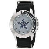Game Time Men's 'Starter' Metal and Nylon Quartz Analog Watch, Color:Black (Model: NFL-STA-DAL)