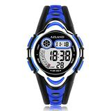 AZLAND Waterproof Swimming Frozen Sports Watch Boys Girls Led Digital Watches for Kids, Updated Version Three Alarms,Blue