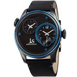 Joshua & Sons Men's Leather Watch – Dual Time Displays – Chronograph Style Seconds – Black Band and Stainless Steel Case – 50m Water Resistance - Precision Quartz Movement – JX118BKBU