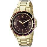 Anne Klein Womens Brown Dial Gold Tone Metal Bracelet Watch AK/2058BNGB