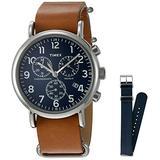 Timex TWG012800QM Unisex Weekender Chrono Tan Leather Strap Watch Gift Set + Navy Nylon Strap