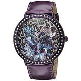 GUESS Women's U0820L3 Trendy Purple Watch with Purple Dial , Crystal-Accented Bezel and Genuine Leather Strap Buckle
