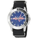 Game Time Men's 'Starter' Metal and Nylon Quartz Analog Watch, Color:Black (Model: NHL-STA-WAS)