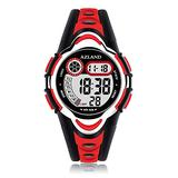 AZLAND Waterproof Swimming Frozen Sports Watch Boys Girls Led Digital Watches for Kids, Updated Version Three Alarms,Red
