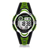 AZLAND Waterproof Swimming Frozen Sports Watch Boys Girls Led Digital Watches for Kids, Updated Version Three Alarms,Green