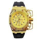 Gold Black Mens Watch Geneva Metal Oversized Boyfriend Designer Fashion Silicone Band Sports