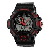 TONSHEN Men's Military Digital Sport Electronic Watch Outdoor Multifunction Waterproof Analog Display LED Back Light 164FT 50M Water Resistant Alarm Stopwatch - Red