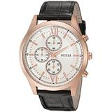 GUESS Men's U0876G2 Dressy Stainless Steel Multi-Function Watch with Chronograph Dial and Genuine Leather Strap Buckle