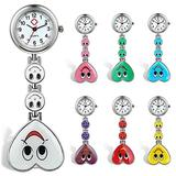 Womens Nurses Watch with Second Hand 7Pcs Clip-on Medical Doctors Lapel Hanging Fob Pocket Watch