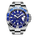 LOREO Mens GMT Silver Stainless Steel Sapphire Glass Blue Rotating Bezel Blue dial Automatic Watches (Blue Dial 9202G)