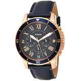 Fossil Men's Grant Sport Quartz Leather Chronograph Watch, Color: Rose Gold, Blue (Model: FS5237)
