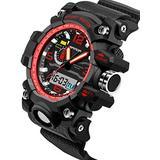 Boys Sport Watch Waterproof Multifunction Analog Digital Alarm LED light Wristwatch Black+red