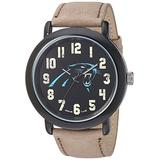 Game Time Men's 'Throwback' Quartz Metal and Leather Casual Watch, Color:Beige (Model: NFL-TBK-CAR)