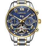 LOREO Men's Automatic tourbillon Multifunction Sapphire Gold Stainless Steel Waterproof Blue Dial Watch (Blue dial with Stainless Steel Band)