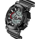 Waterproof Watch with Alarm Digital Analog Chronograph Electronic Outdoor Sport Wrist Watch Black