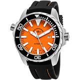 Zeno Mens's 48MM Large Orange Face Swiss Quartz Date Black Rubber Strap Dive Watch 6603-2824-A5