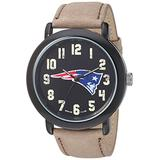 Game Time Men's 'Throwback' Quartz Metal and Leather Casual Watch, Color:Beige (Model: NFL-TBK-NE)