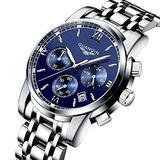 Guanqin Quartz Men's Wrist Watch Stainless Steel Chronograph Luminous Date Bussiness Causal Watch 19018