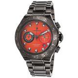 Lancaster Italy Ola1061mb-Gun-Ar Men's Blue Ridge Chronograph Gunmetal Ion Plated Ss Orange Dial Watch