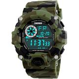 Men's Digital 50M Waterproof Electronic Sport Watch Rubber Band Army Military 24H Time LED Light 164FT Water Resistant Calendar Date Day Watches (C Green)