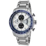 Lancaster Italy Ola1064mb-Ss-Bn-Bl Men's Freedom Chronograph Stainless Steel White Dial Blue Bezel Watch