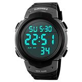 Men's LED Screen Digital Sports Watch Large Face and Waterproof Casual Backlight Watch Titanium Tone Black