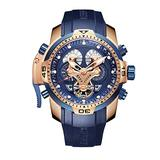 Reef Tiger Men's Military Watches Rose Gold Tone Complicated Blue Dial Watch Automatic Sport Watches RGA3503 (RGA3503-PLBG)
