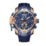 Reef Tiger Military Watches for Men Rose Gold Complicated Blue Dial Automatic Sport Watches RGA3532 (RGA3532-PLBR)