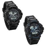 JewelryWe 2pcs Men's Multifunctional Outdoor Sports Dual Time Analog Digital Wrist Watches