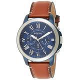 Fossil Men's Grant Quartz Leather Chronograph Watch, Color: Silver/Blue (Model: FS5151)