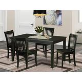 East West Furniture 5-Piece Kitchen Table Chairs Set Included a Rectangular Modern Kitchen Table and 4 Wood Chairs - Solid Wood Mid Century Dining chairs Seat & Slatted Back - Black Finish