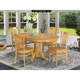 East West Furniture dining room table set 4 Wonderful wooden dining chairs - A Attractive modern dining table- Oak Color Wooden Seat Oak Butterfly Leaf modern dining table