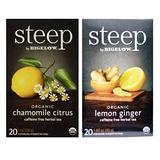 Steep By Bigelow Organic Caffeine Free Herbal Tea 2 Flavor Variety Bundle: (1) Bigelow Organic Chamomile Citrus Herbal Tea, and (1) Bigelow Organic Lemon Ginger Herbal Tea, 1-1.60 Oz Ea