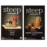 Steep By Bigelow Organic Black Tea 2 Flavor Variety Bundle: (1) Bigelow Organic Chai Black Tea, and (1) Bigelow OrganicSweet Cinnamon Black Tea, 1.60 Oz Ea