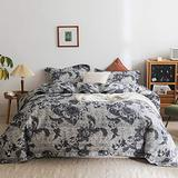 Simple&Opulence 100% Polyester Duvet Cover Set King with Zipper Closure,Lightweight Floral Microfiber Bedding with 1 Comforter Cover and 2 Pillowshams(Greyish Blue)